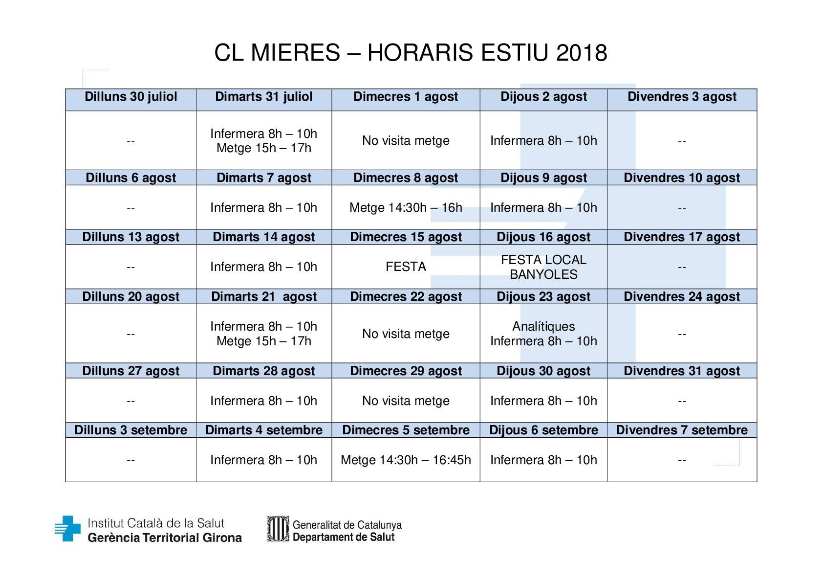 Consultori Local Mieres_horaris estiu 2018 definitiu-001